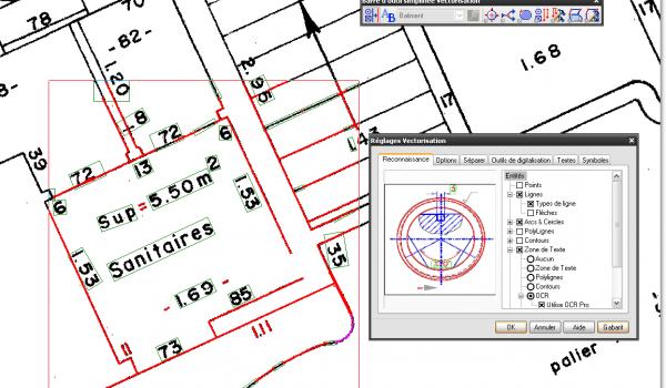 WiseImage PRO - Réglages de la vectorisation d'un plan bâtiment