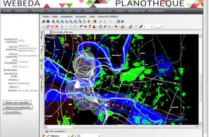 WEBEDA PRO : Visualisation d'un plan DWG et des informations concernant le plan
